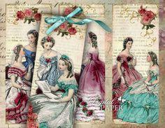 Amica Mia - Imagen del vintage - juego de 6 marcadores - collage digital - archivo JPG para imprimir