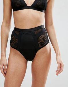 New Bluebella Fishnet Hot Pant Brief Knickers Sz Medium in Black