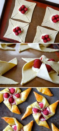 Pinwheel pastries studded with fresh raspberries. A pretty dessert for a 30th birthday party!