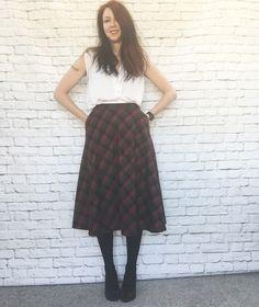 Vintage 80s Does 50s Plaid Skirt Wool Knee Length Swing Pockets Dark Red Green Black by PopFizzVintage on Etsy