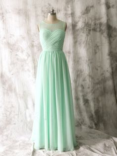 Elegant Sheer Neck Mint Green Bridesmaid Dresses, Beautiful Floor Length Bridesmaid Dresses, Wedding Party dresses,Formal Gowns,Prom Dresses,Evening Gowns