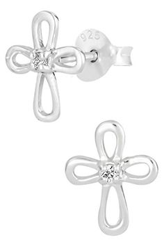 .925 Sterling Silver Hypoallergenic Cross with CZ Crystal Stud Earrings for Girls (Nickel Free) ** FIND OUT MORE DETAILS @: http://splendidjewelry4u.com/925-sterling-silver-hypoallergenic-cross-with-cz-crystal-stud-earrings-for-girls-nickel-free/
