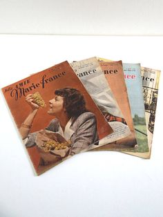 5 French Vintage Fashion Magazines MARIE FRANCE from 1947 no