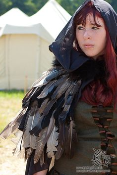 Hooded feather cape Feather Cape, Cos Play, Faeries, Feathers, Hoods, Costumes, Amazing, Places, Projects