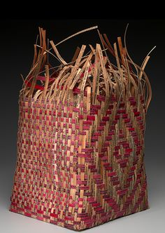 """Exhibition open Sept. 21 #HonorTheTreaties  """"Shan Goshorn (Eastern Band of Cherokee, b. 1957)  Pieced Treaty: Spider's Web Treaty Basket, 2007 made from paper printed with text from the Oklahoma and Cherokee Nation Tobacco Compact. Tulsa, Oklahoma Paper, paint Photo by Earnest Amoroso NMAI 26/6080"""""""