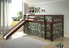 Shop for Donco Kids Mission Tent Loft Dark Cappuccino Twin Bed with Slide. Get free delivery On EVERYTHING* Overstock - Your Online Furniture Outlet Store! Get in rewards with Club O! Twin Size Loft Bed, Low Loft Beds, Lofts, Bed With Slide, Bed Slide, Bunk Beds With Stairs, Bed Tent, Bed Reviews, Bed Furniture