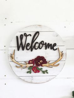 Welcome wood round sign with antlers, shiplap sign, wood circle, farmhouse decor, rustic decor, home decor, farmhouse sign, antler decor by CharaWorks on Etsy