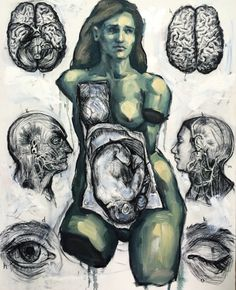 Reminds me so much of a frida piece :Elly Smallwood, 'De humani corporis fabrica libri septem' 2016 Painting Inspiration, Art Inspo, Elly Smallwood, A Level Art, Wow Art, Animal Sketches, Elements Of Art, Life Drawing, Art Sketchbook