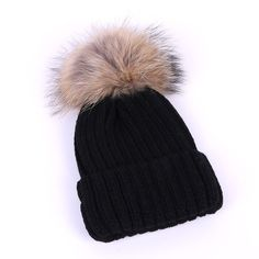 Winter Women raccoon pompom Knitted Hat Girls Pompom Ear Protect Casual Hat Fashion Warm Skullies Beanies Female Cap WH166