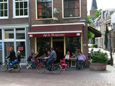 Bicycles and cafe de Morgenster, Utrecht, Holland