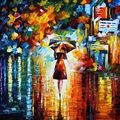 Rain Princess - Palette Knife Landscape Oil Painting On Canvas By Leonid Afremov by Leonid Afremov Autumn Painting, Oil Painting On Canvas, Painting Art, Interior Painting, Spray Painting, Cheap Paintings, Original Paintings, Oil Paintings, Indian Paintings