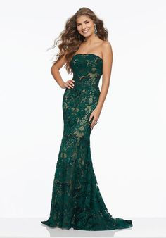 b08a8192b24 Embroidery on Lace with Beading Glamorous Form Fitting Prom Dress Featuring  an All Over Embroidered Lace Accented in Beading.