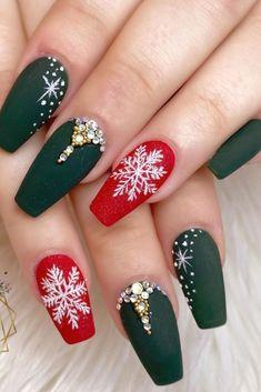 Christmas Gel Nails, Christmas Christmas, Simple Christmas, Holiday Nails, Beautiful Christmas, Cute Acrylic Nails, Acrylic Nail Designs, Nail Art Noel, Modern Nails
