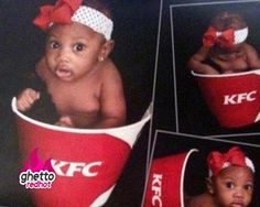This is so wrong it's hard not to laugh, but at least she's a cute baby !