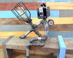 Lampada robot, Pipe lampada da, decorazione industriale, Steampunk illuminazione, tubo decorazione, Man Cave, spazzatura stile, intelligente RAVEN, tubo di illuminazione, lampada industriale
