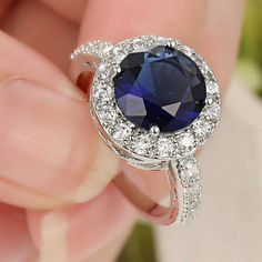 FROM USA Beautiful 14K  White Gold Filled Round Cut Deep Blue LC Stone w/ Australian Crystals Halo Ring w/ Ring Size 8.5 Retail Value $350.00. Starting at $1