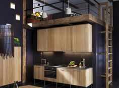 Lit mezzanine au dessus de cuisine