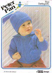 Peter Pan 489 childrens baby cardigan vintage knitting pattern