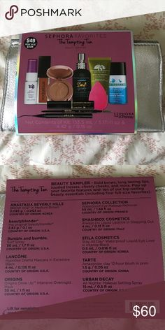 NEW Sephora Tempting Ten set-$181 value New never opened never used Sephora JCPenney exclusive set. 10 items, full sized beauty blender, urban decay all nighter spray, Anastasia Beverly Hills brow wiz medium brown(full size), bumble and bumble surf spray  full size 1.7 oz, Lancôme Hypnose mascara, origins intensive overnight drink up mask, Sephora waterproof makeup remover, smashbox stay all day liquid eyeliner full size  .5 ml, tarte Amazonian clay blush in Prim. I'm selling for $60 so I…