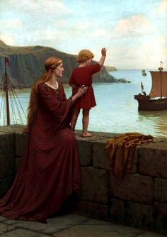 "Pre-Raphaelite-loose assoc (1848-1919) Leighton, Edmund Blair (1852 Sep21 > 1922 Sep1 @69, UK, painter medieval/regency theme) ""Farewell"" (1922 @80 Williamson Art Gallery & Museum, Liverpool, UK)"