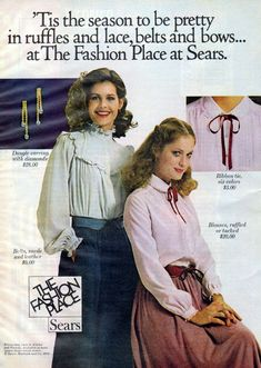 Sears, 1978 I remember wearing ribbons around my neck to coordinate with my blouses. 60s And 70s Fashion, Seventies Fashion, Retro Fashion, Vintage Fashion, Women's Fashion, Vintage Advertisements, Vintage Ads, Sexy Blouse, Vintage Clothing