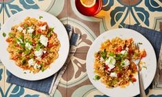 Thomasina Miers' tomato and fennel risotto with goats' curd and marjoram. Veg Recipes, Dinner Recipes, Cooking Recipes, Yummy Recipes, Marjoram Recipe, Goats Curd, Fennel, Risotto, Food To Make