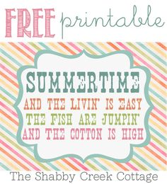 Free Summertime Printable Art