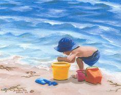 beach artwork   Beach Toys Painting by Brenda Ellis Sauro - Beach Toys Fine Art Prints ...