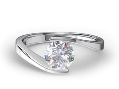 Curved Tension Solitaire Engagement Ring