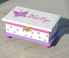 Painted Jewelry Boxes, Silver Jewelry Box, Gold Jewellery, Silver Rings, Butterfly Jewelry, Pink Butterfly, Sunflower Jewelry, Kids Jewelry Box, Girls Jewelry