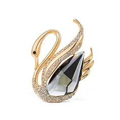 Golden with Black Swan Swarovski Element Crystal Brooch available at mariescrystals.com