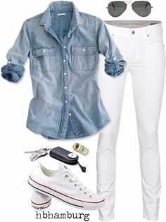 White pants, light blue blouse, gold coin sandals, round sunglasses