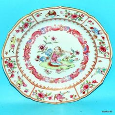 ANTIQUE-IMPERIAL-YONGZHENG-18THC-EXTREMELY-FAMILLE-ROSE-CHINESE-PORCELAIN-PLATE