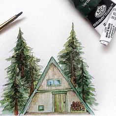 (@rosies.sketchbook) I was looking for reference photos for a cabin and came across the triangle shaped cabins, so I had to make a doodle of it.