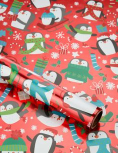 Festive Penguins Christmas Wrapping Paper - these little penguins are so cute!
