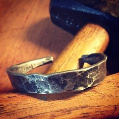 Hand-Forged Steel Bracelet by HoundsAndHammers on Etsy