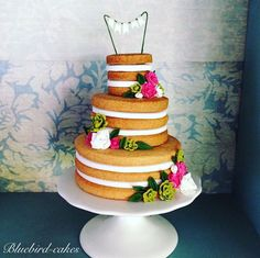 Mini naked wedding cake by Zoe Smith Bluebird-cakes.  Just 4 inches tall !! Made from cookies , based on the recipe and design from the book Pretty Patisserie by Makiko Searle . Gorgeous book !!!