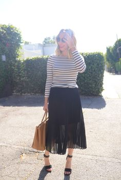 striped shirt + pleated skirt