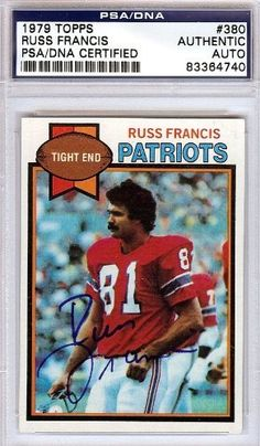 Russ Francis Autographed/Hand Signed 1979 Topps Card PSA/DNA #83364740 by Hall of Fame Memorabilia. $56.95. This is a 1979 Topps Card that has been hand signed by Russ Francis. It has been authenticated by PSA/DNA and comes encapsulated in their tamper-proof holder.