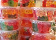 3 pkgs meijer gummy bears 1/2 bottle parrot bay passion fruit rum. Put in plastic container with lid. Let soak 2-3 days (stir twice a day).