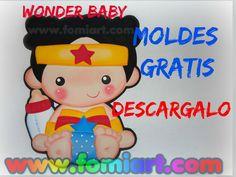 Wonder Woman Moldes Gratis | Fomiart Baby Wonder Woman, My Little Pony, Princess Peach, Preschool, Baby Shower, Kids, Avengers, Decorated Notebooks, Fabric Crafts