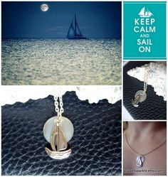 Sailboat Necklace full moon pendant silver by ACupOfSparkle