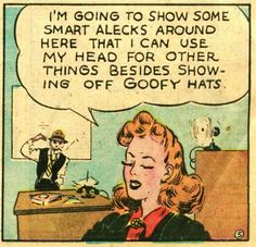 Panel from a Brenda Starr Reporter comic strip, published by The Chicago Tribune, United States, 1946, by Dale Messick.