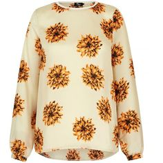 Mela Loves London Floral Print Oversized Blouse (€27) ❤ liked on Polyvore featuring tops, blouses, cream, women, sleeve top, floral-print blouses, floral print tops, long sleeve tops and long sleeve blouse