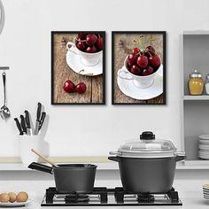 Conjunto Quadros/Poster com 2 itens para decoração de cozinha - Cerejas