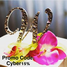 Shop Cyber Monday!  Use promo code: Cyber15 to get 15% off of all Cake Topper Orders! Monogram Cake Toppers, Gold Cake Topper, Bouquet Holder, Crystal Cake, Industrial Wedding, Bridal Gifts, Bridal Accessories, Arabic Quotes, Cyber Monday