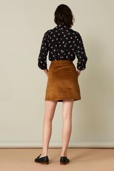 Alice Skirt in Grey Suede. Whimsy + Row FW'17 Eco-Friendly Clothing Collection. Sustainably made in LA with upcycled fabric. #MadeInLA #MadeWithLove #SustainableFashion #FallTrends #FashionTrends2017 #FallFashion #BodySuit #MiniSkirt #FallSkirts