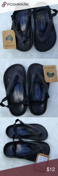 Aussie Soles Black Slip On Thong Flip Flops Sandal Soft Rubber Boys Kids Shoes with Heel Bands aussie soles Shoes Sandals & Flip Flops