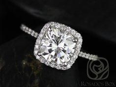 Catalina 7.5mm Platinum Cushion FB Moissanite and by RosadosBox