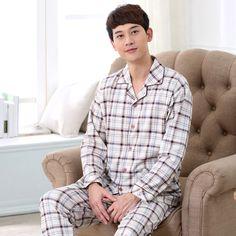 Autumn Mens Knitted Cotton Pajama Sets Full Sleeve Pyjamas Round Neck Sleepwear Casual Sleep Lounge Plaid Pyjamas men 037